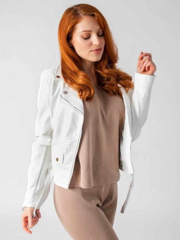 Biela kožená bunda Ziwa