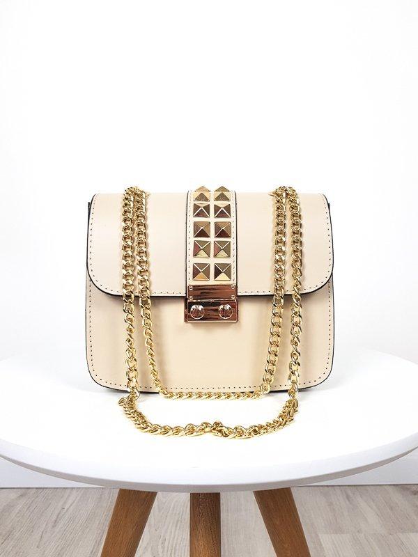 Béžová kožená kabelka so zlatým vybíjaním
