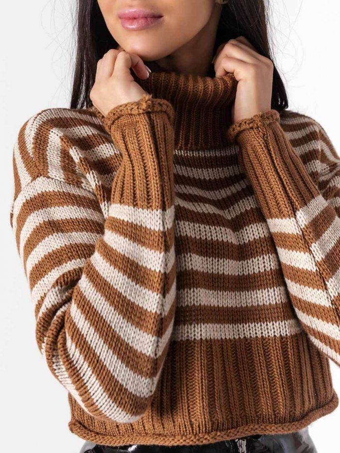 Hnedý pásikavý sveter Marisa
