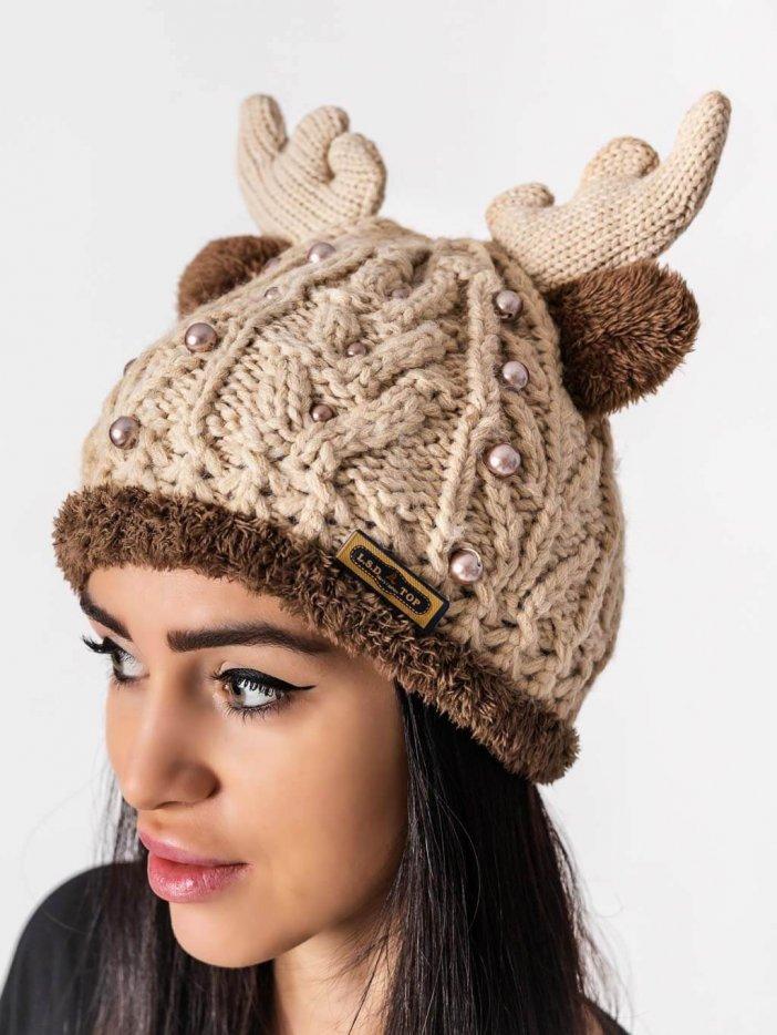 Béžová čiapka Reindeer