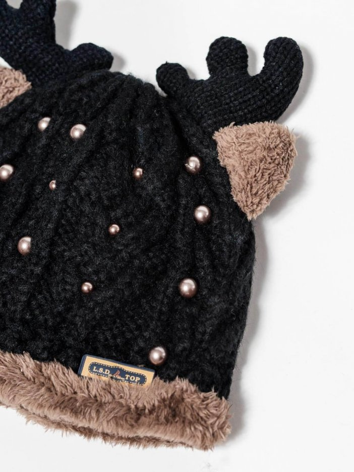 Čierna čiapka Reindeer