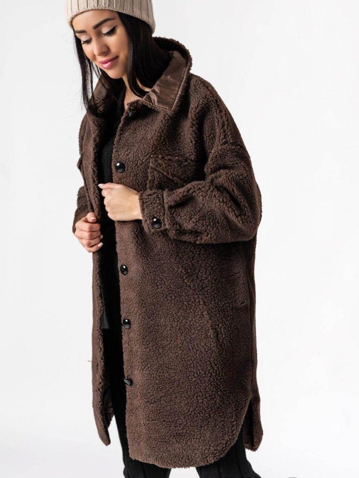Tmavohnedý teddy kabát Esteban