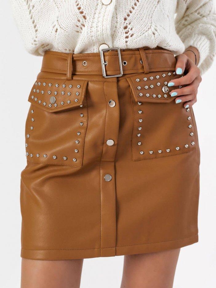 Hnedá kožená sukňa Akiny