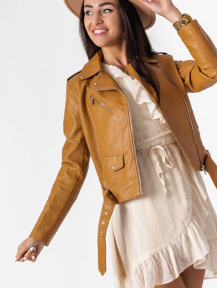 Hnedá kožená bunda Salli