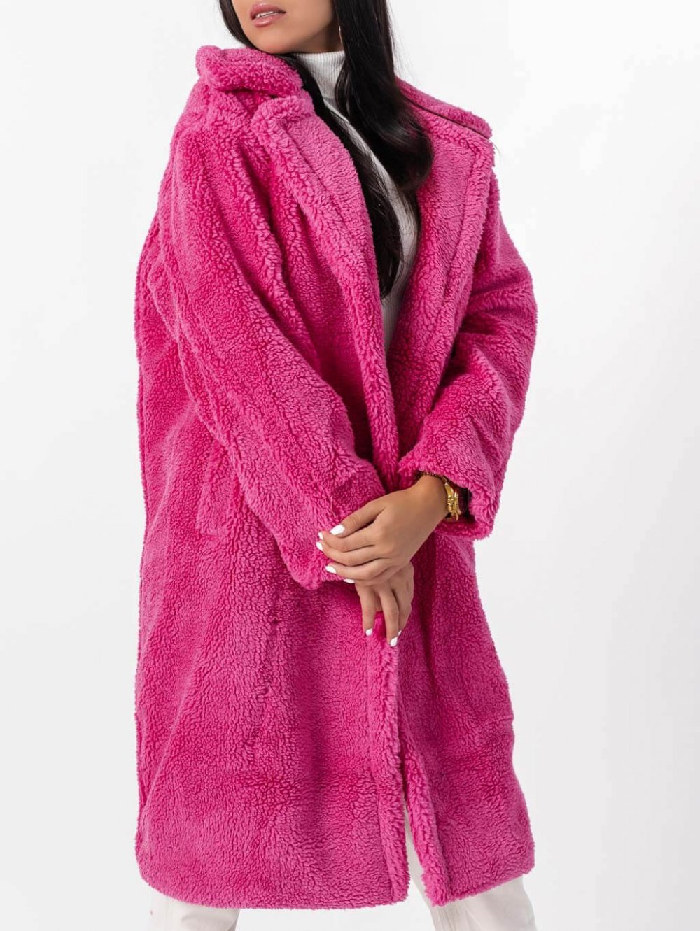 Ružový teddy kabát Sebastian