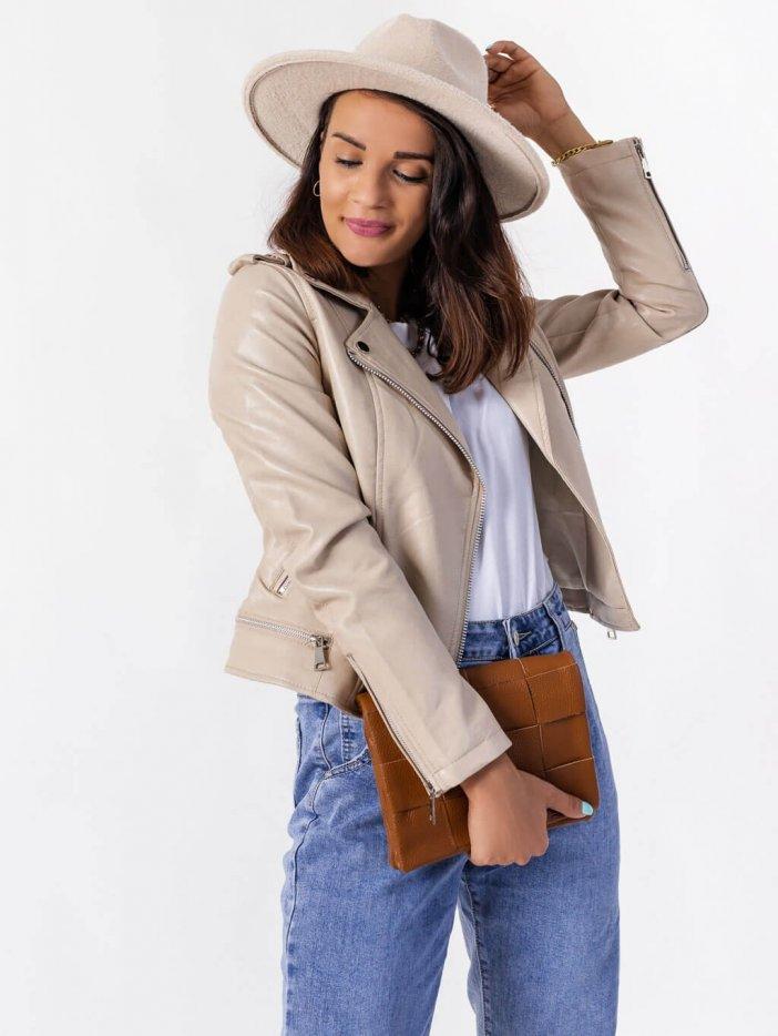 Béžová kožená bunda Rachell