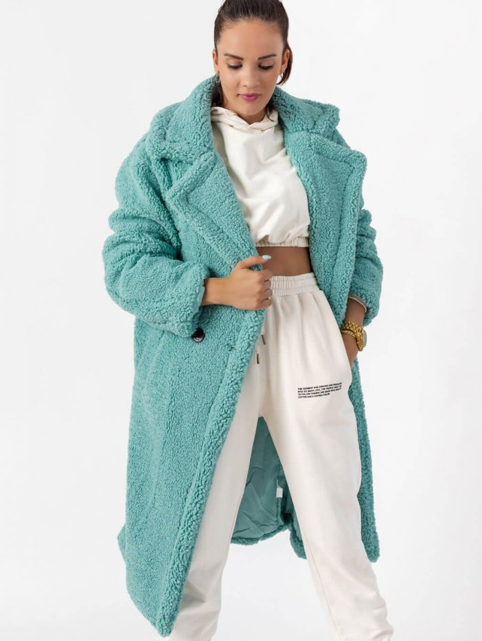 Modrý teddy kabát Terry