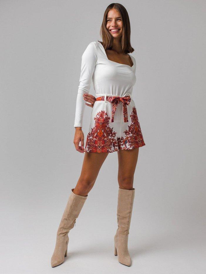 Bielo-tehlové šortky Natelie