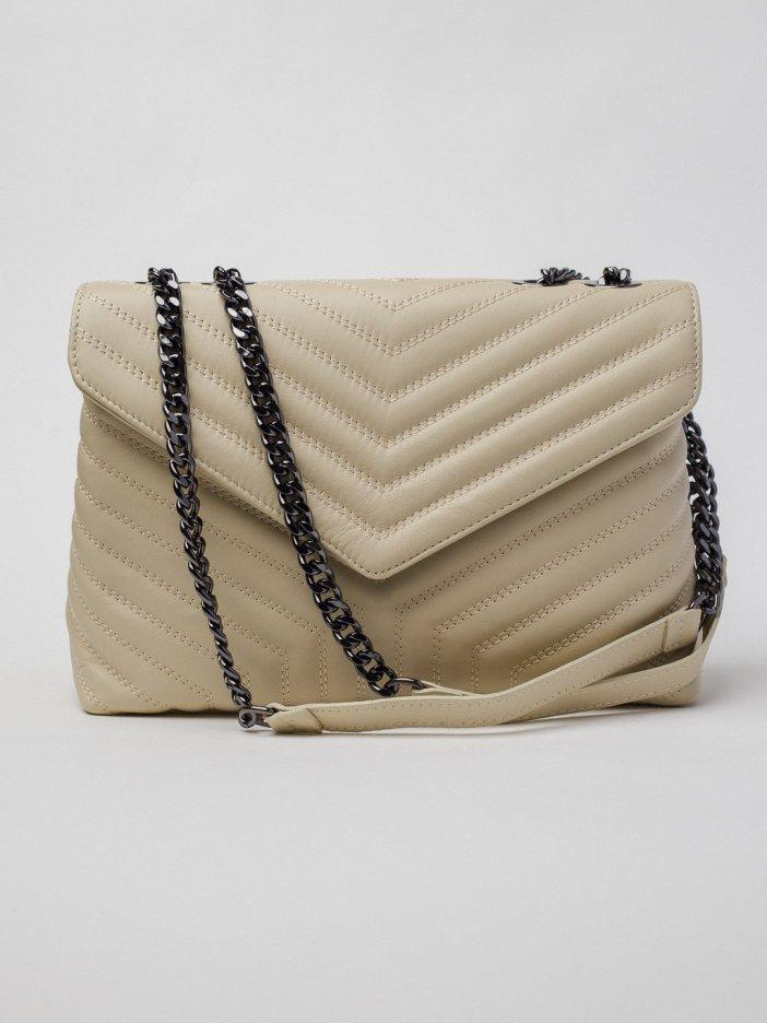 Béžová kožená kabelka Maila