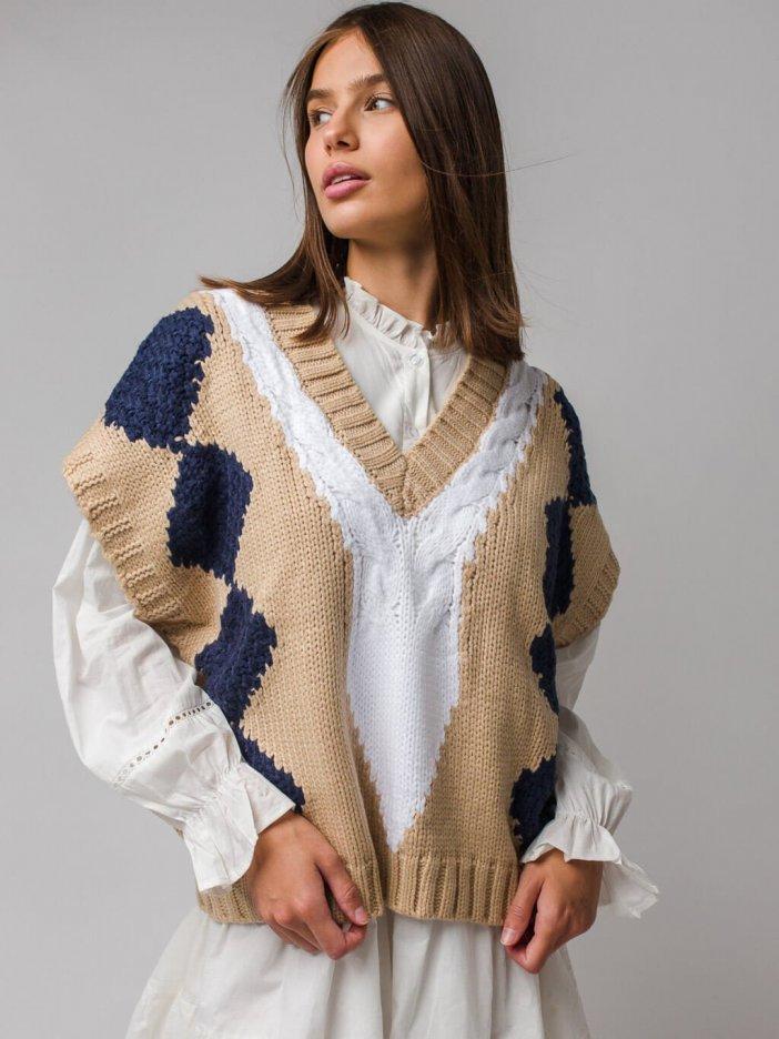 Béžová vzorovaná vesta Alea