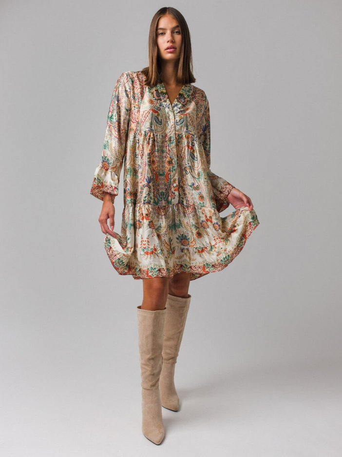 Béžové vzorované šaty Gorgia