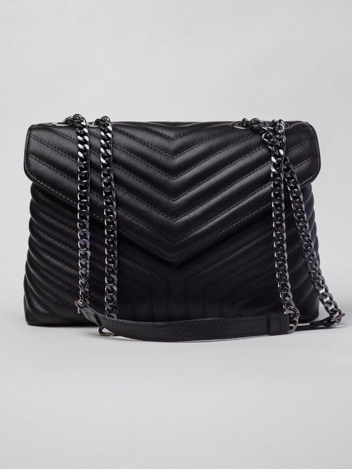 Čierna kožená kabelka Maila