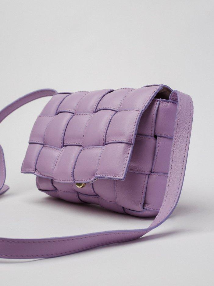 Fialová kožená kabelka Lenda