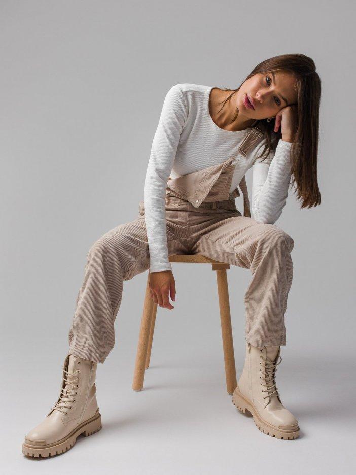 Béžové nohavice na traky Tea