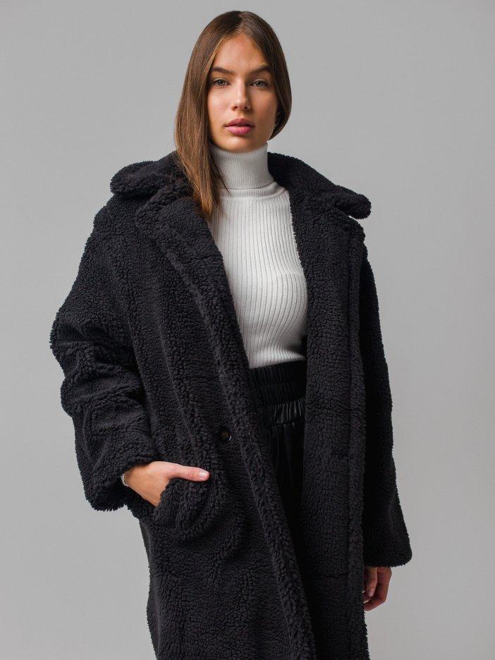Čierny teddy kabát Sebastian