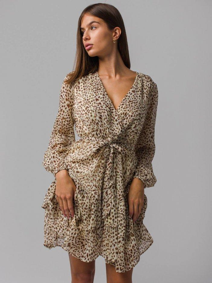 Hnedé vzorované šaty Leona