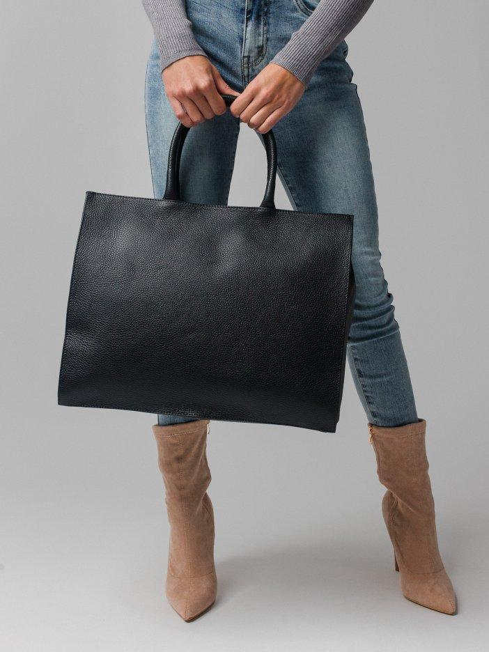 Čierna kožená kabelka Zelia