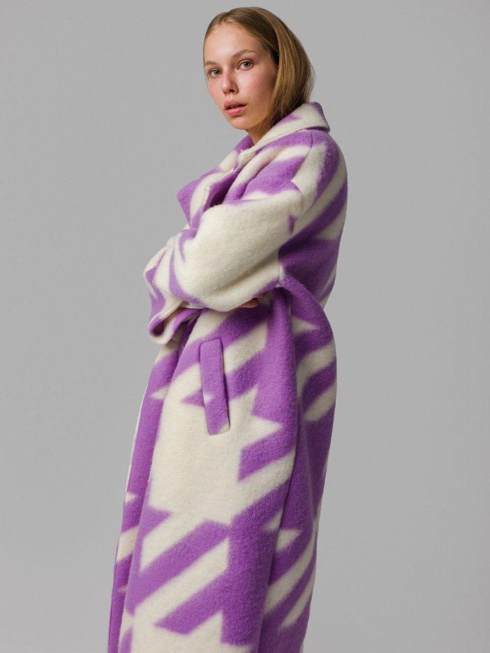 Smotanovo-fialový kabát Kira